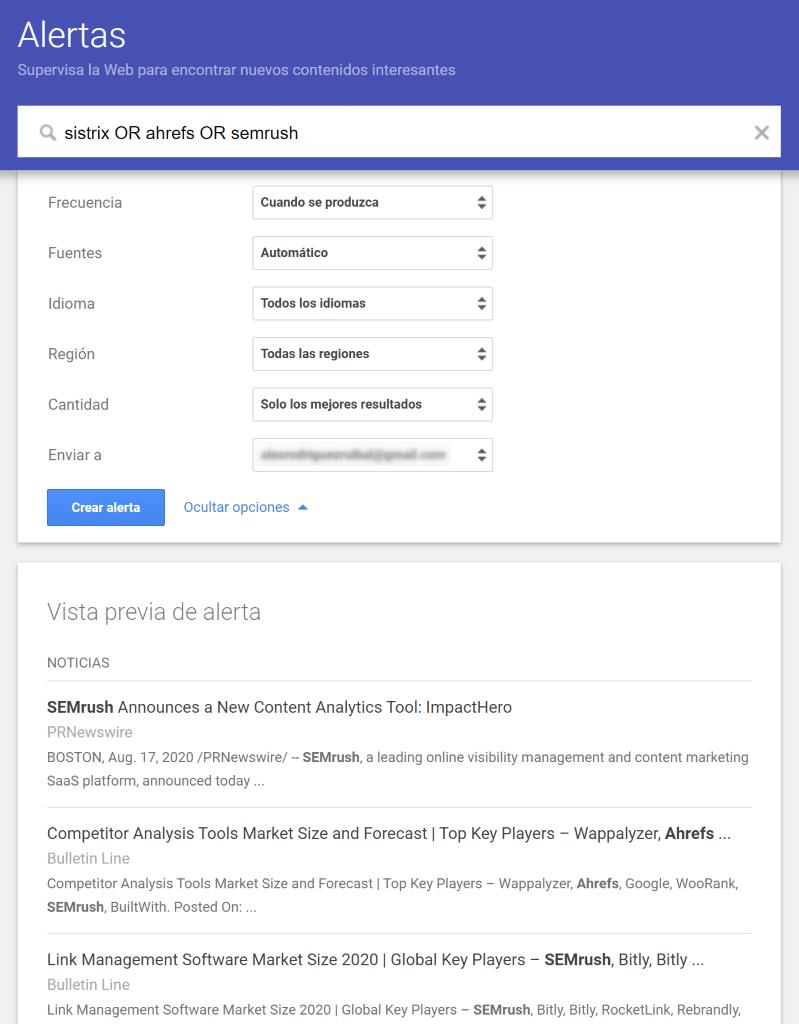 como crear alertas en google